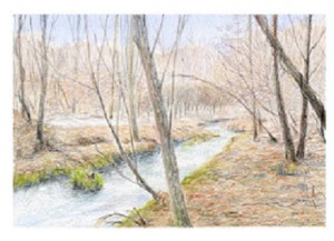 風景スケッチ 早春の小川