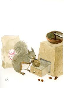 リスとコーヒーミル