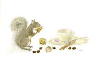 コーヒーカップとリス