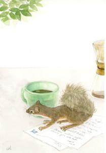 リスとコーヒーカップ