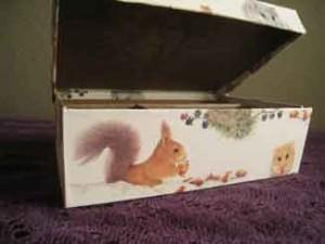 リス柄の箱